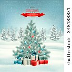 christmas tree with presents... | Shutterstock .eps vector #348488831