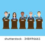 politician at the podium... | Shutterstock .eps vector #348496661