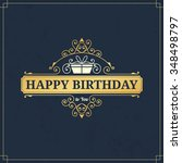 happy birthday vintage label... | Shutterstock .eps vector #348498797