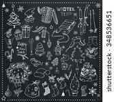 winter season themed doodle... | Shutterstock .eps vector #348536651