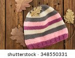 the knitted colorful cap | Shutterstock . vector #348550331
