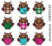 nice scrapbook owls on white... | Shutterstock .eps vector #348554165