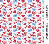 seamless flat heart background... | Shutterstock .eps vector #348555191