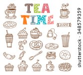 tea time. hand drawn tea and... | Shutterstock .eps vector #348579359