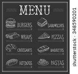 chalkboard menu template.... | Shutterstock .eps vector #348590201