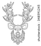 patterned deer head with big... | Shutterstock .eps vector #348591245