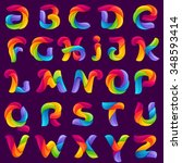 funny alphabet letters formed... | Shutterstock .eps vector #348593414