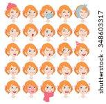 set of cartoon cute girl face... | Shutterstock .eps vector #348603317