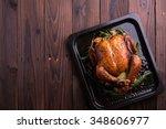 roasted whole chicken   turkey... | Shutterstock . vector #348606977