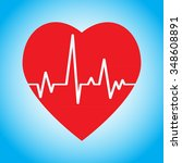 heart and cardiogram icon.... | Shutterstock .eps vector #348608891