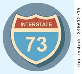 interstate sign circle icon... | Shutterstock .eps vector #348612719