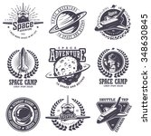 set of vintage space and... | Shutterstock . vector #348630845