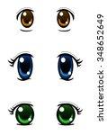 set of anime style eyes... | Shutterstock .eps vector #348652649