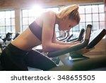 woman taking break during... | Shutterstock . vector #348655505