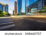 the light trails on the modern... | Shutterstock . vector #348660707