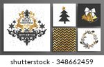 christmas and new year's ... | Shutterstock .eps vector #348662459