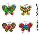 hand drawn butterfly set in... | Shutterstock .eps vector #348664607