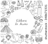 hand drawn doodle mexico set... | Shutterstock .eps vector #348671531