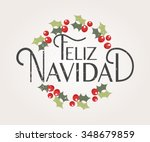 hand sketched feliz navidad ... | Shutterstock .eps vector #348679859