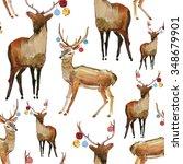 reindeer seamless watercolor... | Shutterstock . vector #348679901
