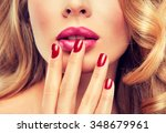 woman with red manicure .  girl ... | Shutterstock . vector #348679961
