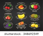 set vintage label with fruits   ... | Shutterstock .eps vector #348692549