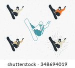set of snowboarding icons....