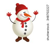 isolated snowman icon on a... | Shutterstock .eps vector #348702227