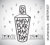 barman's day vector... | Shutterstock .eps vector #348709337