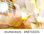 multiple exposure of guitar and ... | Shutterstock . vector #348710231