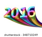 new year 2016 colorful metal... | Shutterstock . vector #348710249