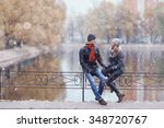 Winter Couple Walking Man And...