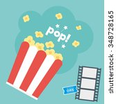 movie popcorn with film strip   ... | Shutterstock .eps vector #348728165