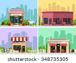 Modern landscape set with cafe, restaurant, pizzeria, coffee house building, trees, bushes, flowers, benches, restaurant tables. Flat style vector illustration. | Shutterstock vector #348735305