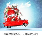 santa claus with reindeer in a... | Shutterstock . vector #348739034