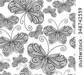 vector hand drawn butterflies....   Shutterstock .eps vector #348742559