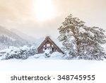 shirakawago with snowfall and...   Shutterstock . vector #348745955
