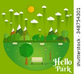 hello park. natural landscape... | Shutterstock .eps vector #348754301
