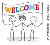 stick figures holding welcome... | Shutterstock .eps vector #348775289
