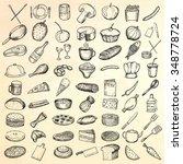 set of restaurant icons. hand... | Shutterstock .eps vector #348778724