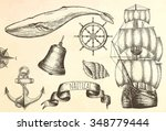 vintage ship. items on the... | Shutterstock .eps vector #348779444