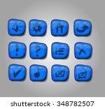 set of blue buttons  vector...