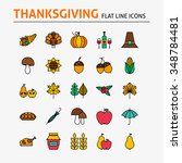 thanksgiving day colorful flat...   Shutterstock .eps vector #348784481