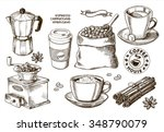 hand drawn coffee set | Shutterstock .eps vector #348790079
