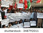 Small photo of KARACHI, PAKISTAN - DEC 08: Activists of different political parties are protesting against allege rigging by PTI during local bodies election 2015, on December 08, 2015 in Karachi.