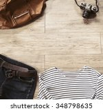 top view of vintage clothing... | Shutterstock . vector #348798635