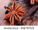 closeup of fresh star anise and ... | Shutterstock . vector #348799529