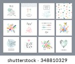 set of romantic floral cards.... | Shutterstock .eps vector #348810329