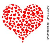 a collage of hearts isolated on ... | Shutterstock . vector #34882699