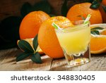 orange juice in a glass with... | Shutterstock . vector #348830405
